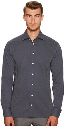 Eton Slim Fit Signature Dot Shirt (Navy/White) Men's Clothing