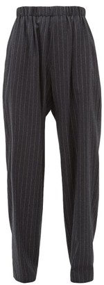 Edward Crutchley Chalk-striped Brushed Wool-twill Trousers - Womens - Grey