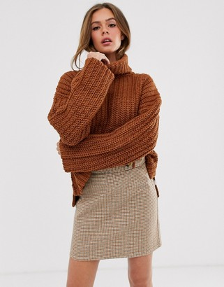 Moon River high neck slouchy jumper-Brown