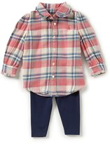 Ralph Lauren Baby Girls 3-24 Months Plaid Flannel Shirt & Solid Jersey Leggings Set