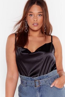 Nasty Gal Womens That's Rich Satin Plus Bodysuit - Black - 22, Black