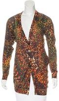 Alexander McQueen Silk Leopard Pattern Cardigan