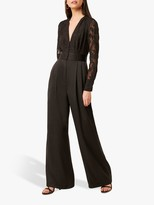 French Connection Annaleigh Satin Belted Jumpsuit, Black