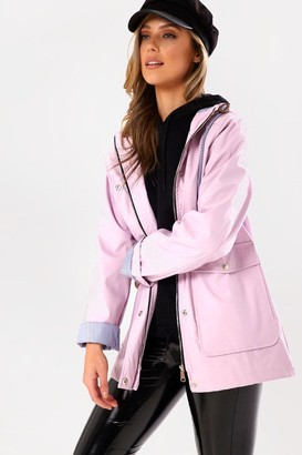 Iclothing Lilly Stripe Lined Raincoat in Lilac