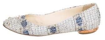Chanel CC Tweed Embellished Ballet Flats