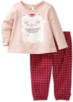 Tea Collection Maneki Neko Graphic Tee & Pants Set (Baby Girls)