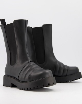 Monki Uno faux leather chunky tall boots in black
