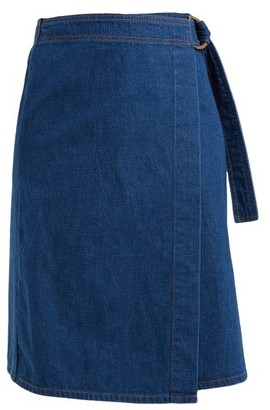 MiH Jeans Ria Cotton-chambray Wrap Skirt - Dark Blue