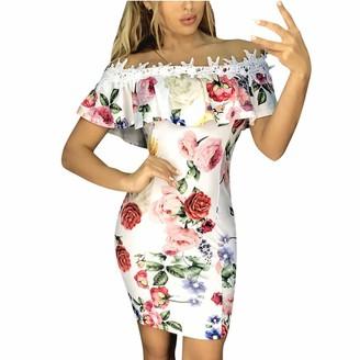 POLPqeD Womens Off Shouder Floral Print Lace Applique Mini Dress