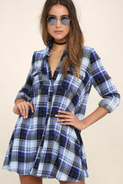 LuLu*s Fireside by Side Black and Blue Plaid Long Sleeve Dress