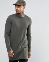 Asos Super Longline Long Sleeve T-shirt In Khaki