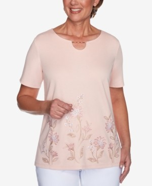Alfred Dunner Petite Springtime In Paris Floral-Embroidered Top