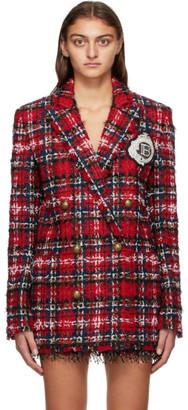 Balmain Red Tweed Double-Breasted Tartan Blazer