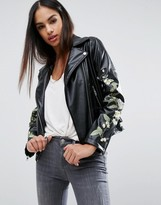 Missguided Embroidered Floral Leather Look Biker Jacket