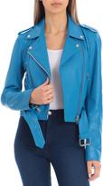AVEC LES FILLES Soft Cropped Leather Biker Jacket