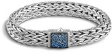John Hardy Classic Chain Sterling Silver Lava Large Bracelet with Blue Sapphire