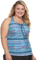 Free Country Plus Size Strappy Lace-Up Tankini Top