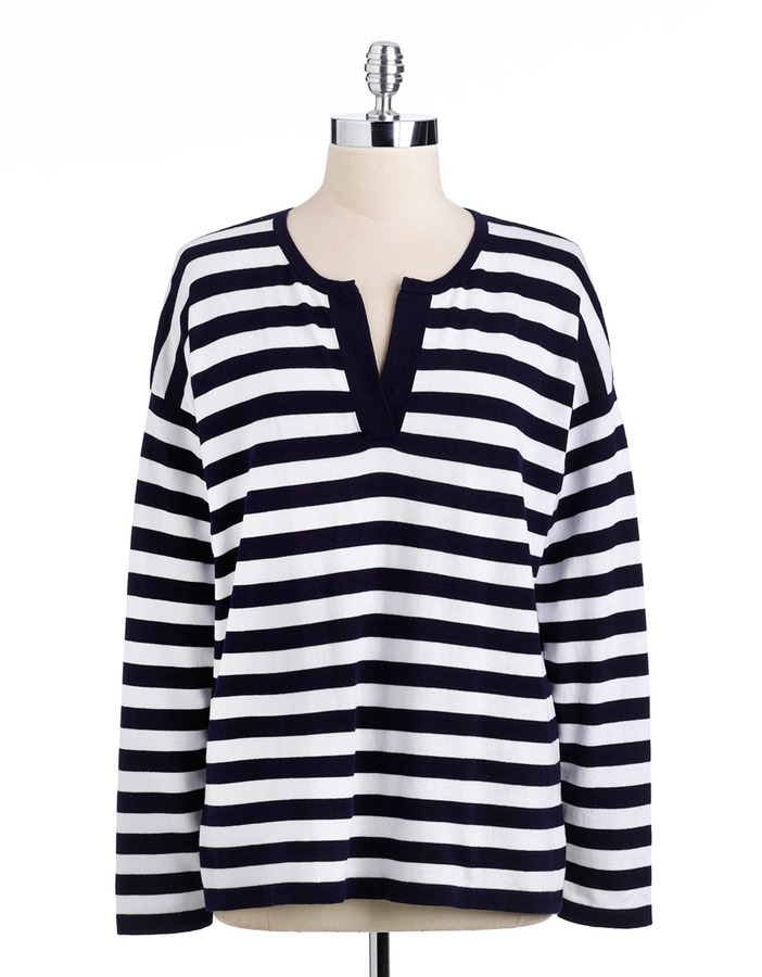 Jones New York Signature Plus-Size Long-Sleeved Striped Sweater
