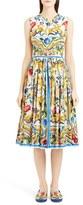 Dolce & Gabbana 'Majolica' Tile Print Cotton Poplin Dress