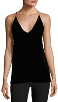 Elizabeth and James Elliott V-Neck Sleeveless Velvet Tank