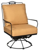 Woodard Briarwood Rocking Swivel Patio Chair Woodard Frame Color: Weathered White, Body Fabric: Whisper Smoke