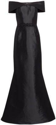 Teri Jon By Rickie Freeman Off-The-Shoulder Embellished Belt Gown