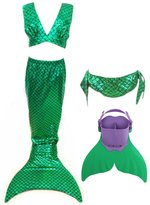 LB Girls' 4pcs Tops Panties Mermaid Tail for Swimming Swimwear with Swimming Fins