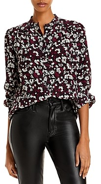 Joie Myella Floral Puff Sleeve Silk Top