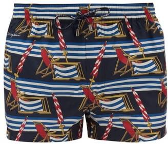 Dolce & Gabbana Sun Lounger-print Swim Shorts - Blue Multi