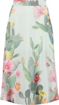 Matthew Williamson Floral-print silk-crepe midi skirt