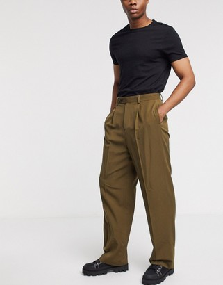 ASOS DESIGN smart high waisted trousers in khaki