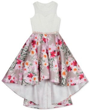 Rare Editions Big Girls Lace & Floral High-Low Dress