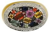14K Gold Multi Color Sapphires & Enamel Band Ring