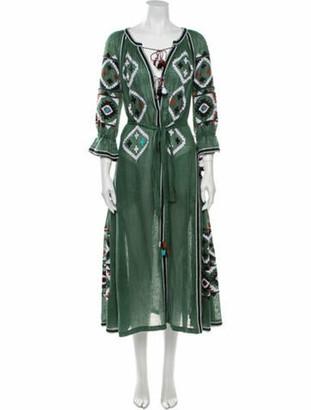 Vita Kin Linen Long Dress Green