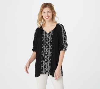 Susan Graver Embroidered Crinkled Gauze Peasant Top w/ Tassel Ties