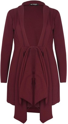 Fashion Star Womens Ladies Tie Knot Belted Waterfall Trench Coat Jacket Duster Midi Cardigan Wine