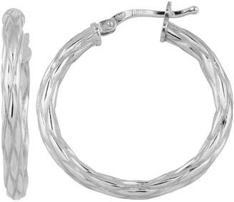 Fremada Sterling Silver 23mm Weave Design Hoop Earrings