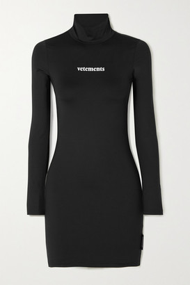Vetements Printed Stretch-jersey Turtleneck Mini Dress - Black