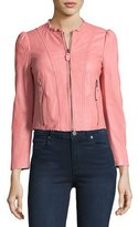Rebecca Taylor Ruffle-Collar Leather Moto Jacket, Light Pink