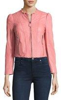 Rebecca Taylor Ruffle-Collar Leather Moto Jacket, Light Pink