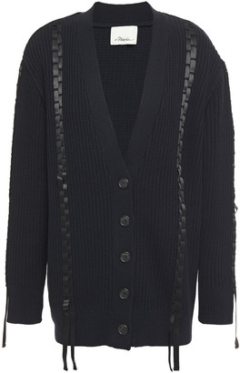 3.1 Phillip Lim Satin-trimmed Ribbed Cotton And Wool-blend Cardigan