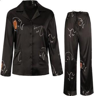 Not Just Pajama Face Line Art Printed Silk Pajamas Set - Black