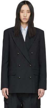 Tibi Navy Wool Double-Breasted Blazer