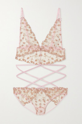 Coco de Mer Elizabeth Satin-trimmed Cutout Embroidered Tulle Bodysuit - Pink