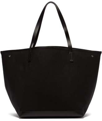 The Row Park Leather-trimmed Canvas Tote - Womens - Black