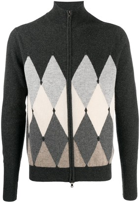 Ballantyne Argyle Knit Zip-Front Jumper