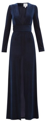 Galvan Stardust Striped Devore Velvet Gown - Navy