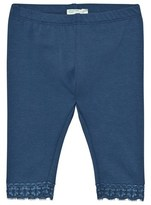 Benetton Mid Blue Classic Leggings with Lace Trim
