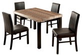 Furniture of America 5 Piece Colorful Faux Marble Top Dining Table Set Wood/Black