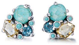 Stephen Dweck Rutilated Quartz & Turquoise Cluster Earrings